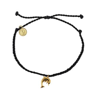 Pura Vida 美國手工 金色海豚 黑色蠟線可調式手鍊衝浪海灘防水手繩