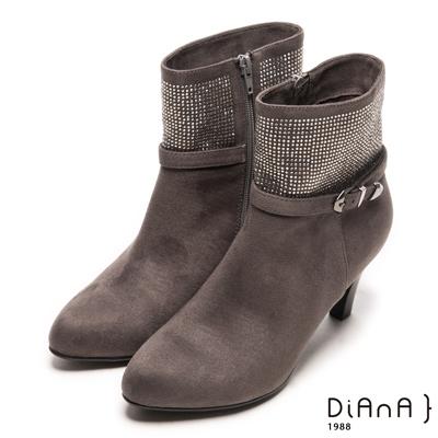 DIANA 妝點奢華--隱隱低調耀眼星空排鑽跟靴-灰