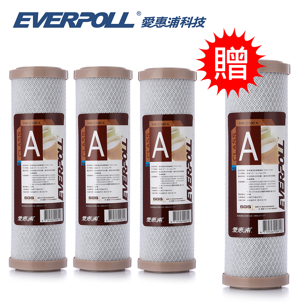EVERPOLL愛惠浦科技10吋壓縮碳濾芯 EVB-C100A [3+1入]
