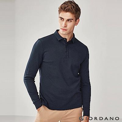 GIORDANO 男裝純棉磨毛素色長袖POLO衫-66 標誌海軍藍