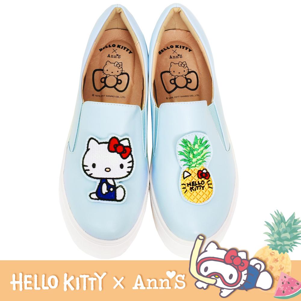 HELLO KITTY X Ann'S鳳梨可隨意交換貼布刺繡厚底懶人鞋-BABY藍