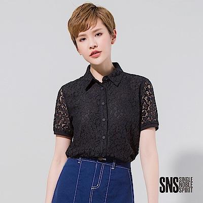 SNS 星星圖騰縷空蕾絲短袖襯衫(<b>2</b>色)