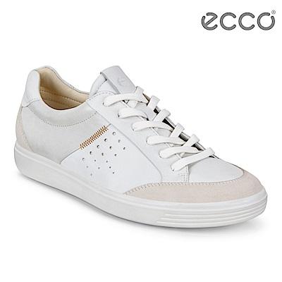 ECCO SOFT 7 W 拼接綁帶休閒鞋 女-白