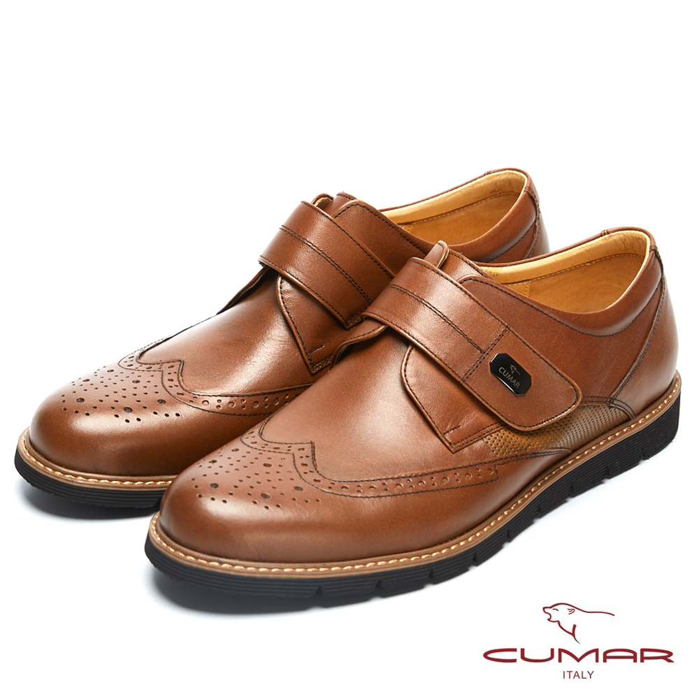 CUMAR英倫紳士 經典簡約舒適皮鞋-棕