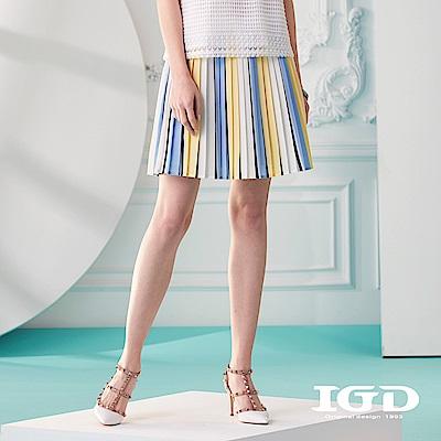 IGD英格麗 復古彩條百褶短裙-白色