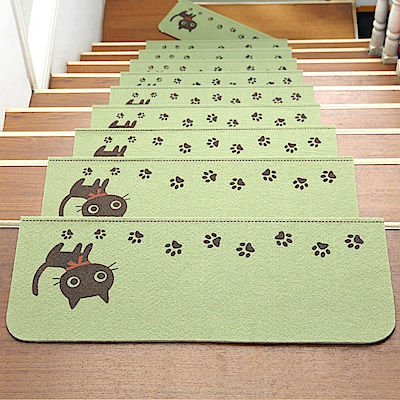 半島良品 可重覆黏貼樓梯止滑墊5入-貓咪 綠色