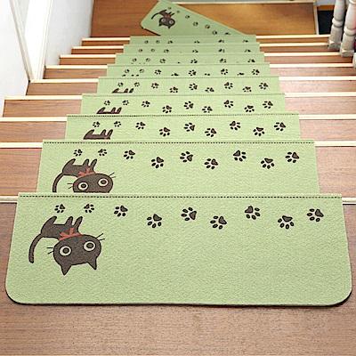 半島良品 可重覆黏貼樓梯止滑墊10入-貓咪 綠色