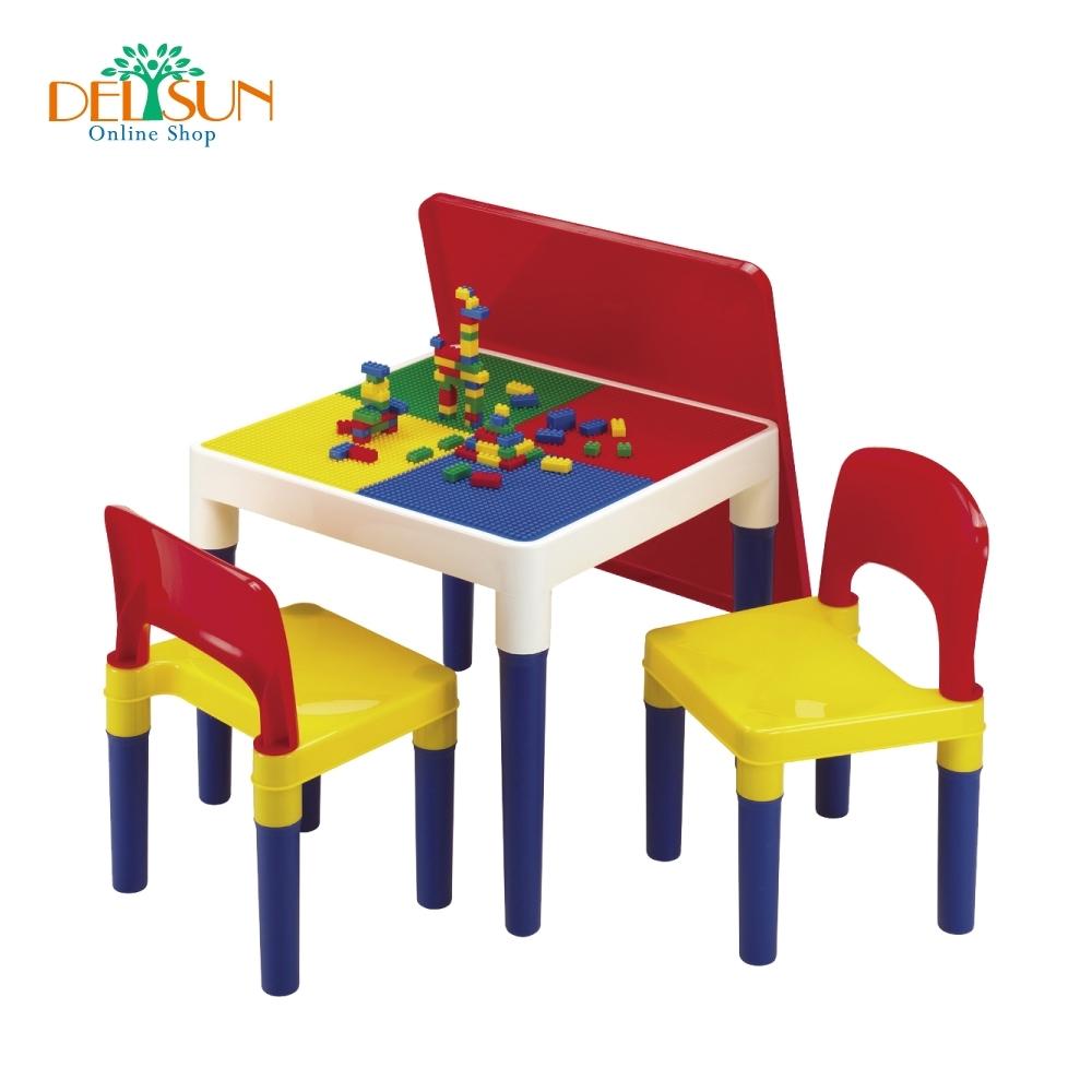 DELSUN 積木桌椅組 繽紛彩虹