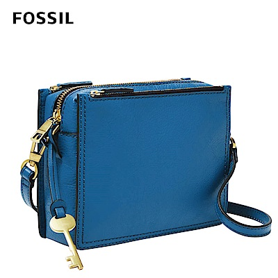 FOSSIL CAMPBELL真皮多夾層立體小方包-天藍色 ZB7264965