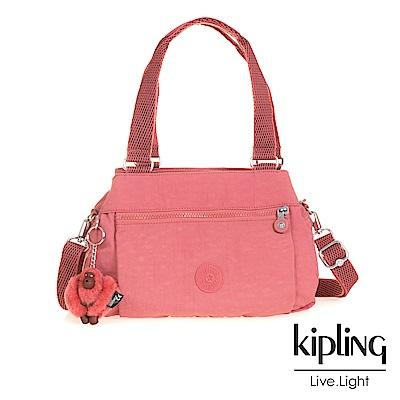 Kipling 斜背包 豆沙霧粉素面-中