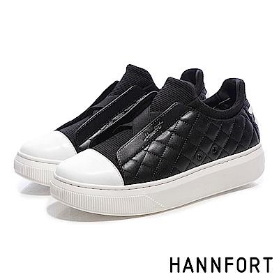 HANNFORT CAMPUS PLATFORM經典菱格增高厚底休閒鞋-女-黑