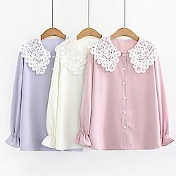 IMStyle 韓版娃娃領襯衫(米白色、粉色、紫羅蘭色)