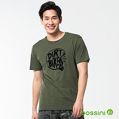 bossini男裝-印花短袖T恤38軍綠