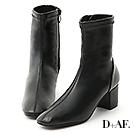 D+AF 完美主義.素面車線中跟襪靴*黑