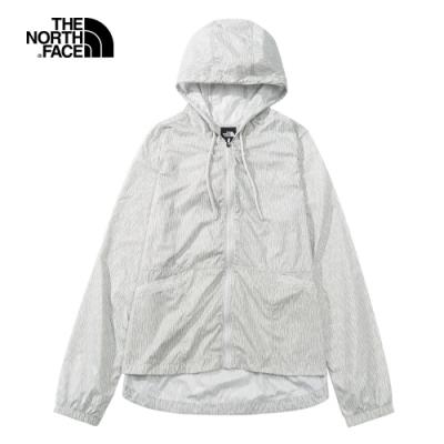 The North Face北面女款灰色條紋防潑水防風外套|4NCFM16