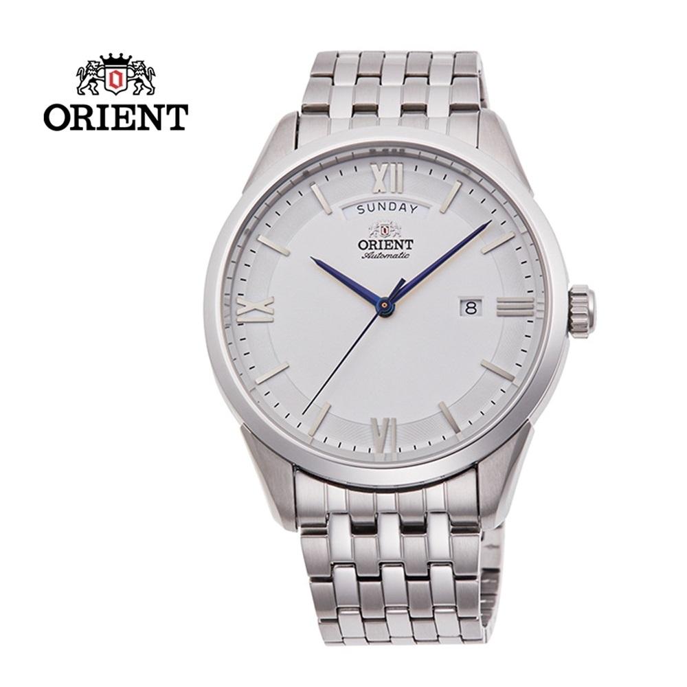 ORIENT 東方錶 WILD CALENDAR 系列 現代簡約機械腕錶 鋼帶款 白色 RA-AX0005S