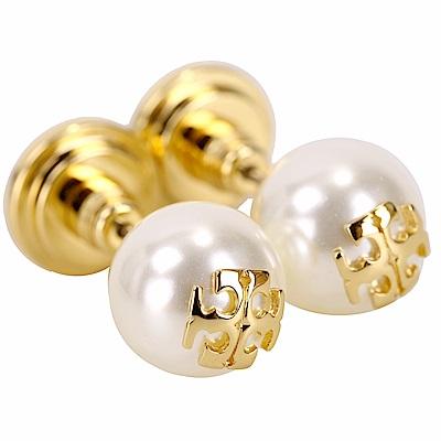 TORY BURCH Crystal-Pearl 施華洛世奇水晶珍珠穿釦式耳環(米白x金)