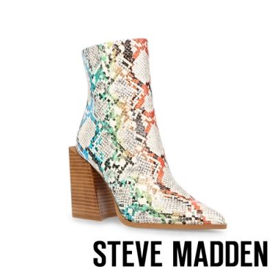 STEVE MADDEN-TYSEN 亮眼蛇紋拉鍊粗高跟中筒靴-彩虹
