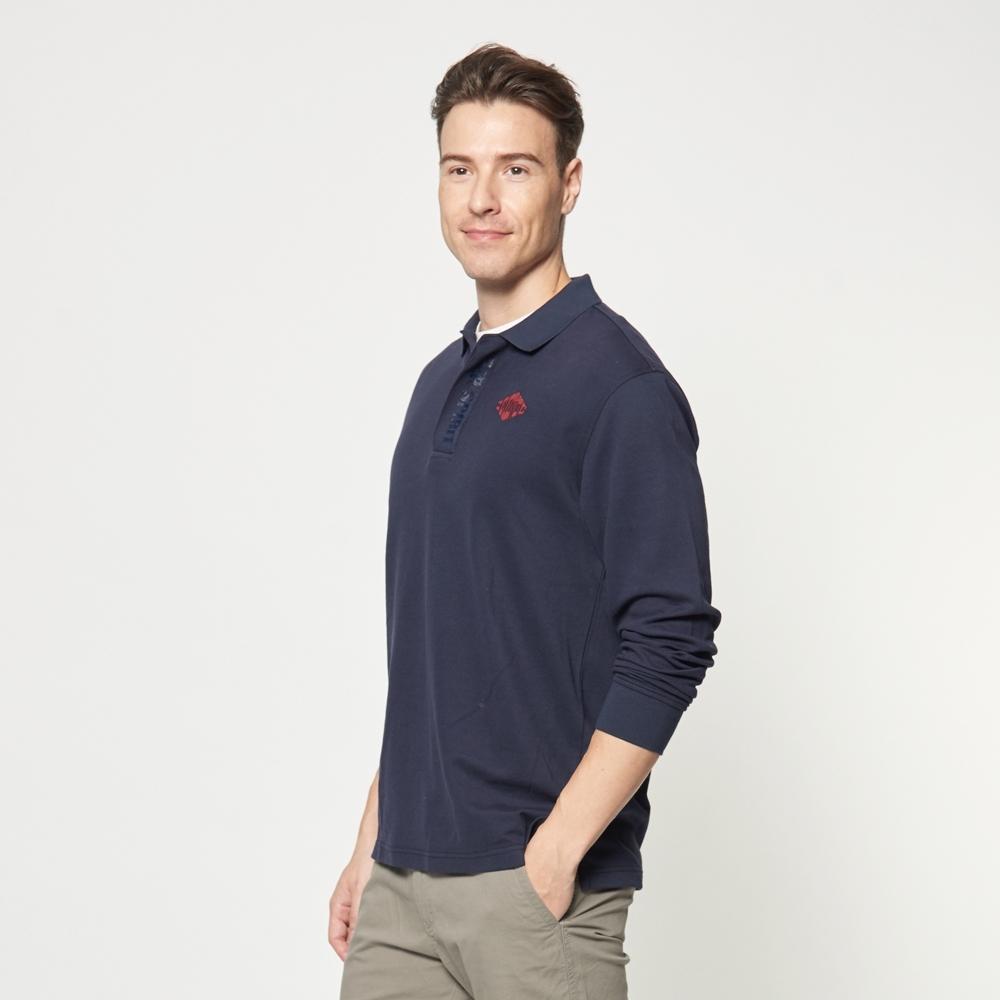 JEEP 經典素色長袖POLO衫 -深藍色