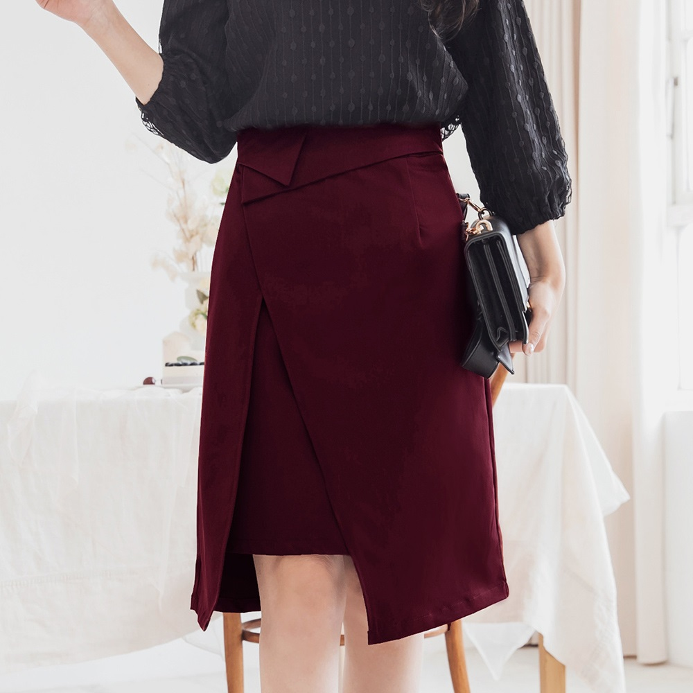 設計感反褶腰頭開衩及膝裙-OB大尺碼