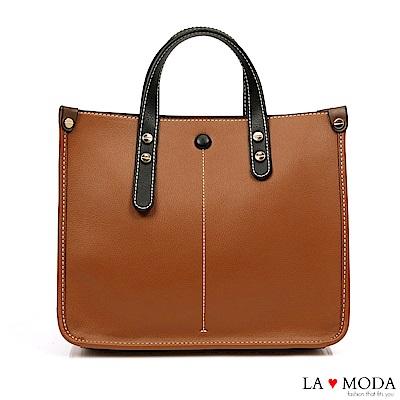 La Moda 質感多格層大容量拚色設計肩背手提托特包(棕)