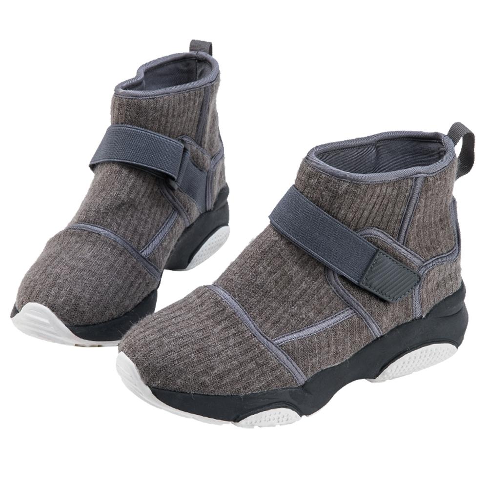 Robinlo 休閒運動風魔鬼氈平底短靴 灰色