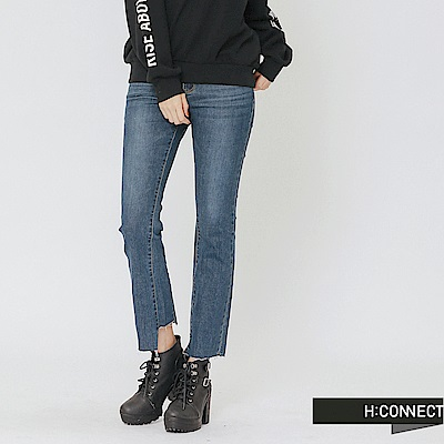 H:CONNECT 韓國品牌 女裝-不規則缺口拼接牛仔褲-藍