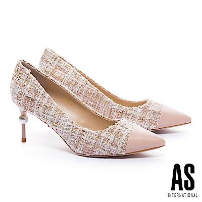 高跟鞋 AS 經典高雅羊皮拼接軟呢尖頭高跟鞋-粉