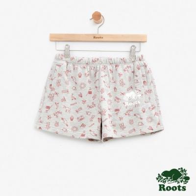 女裝Roots加拿大系列-滿版印花短褲-灰