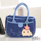 ABS貝斯貓 甜心小花趴趴貓布包小提袋(海洋藍)88-171