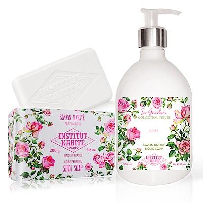 IKP 巴黎乳油木 玫瑰花園香氛液體皂500ml+玫瑰手工皂200g