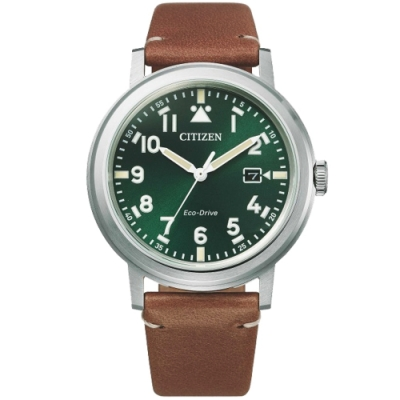 CITIZEN 星辰 GENTS光動能時尚皮帶腕錶-綠x咖啡40mm(AW1620-13X)