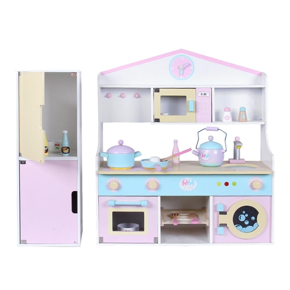 樂兒學嚴選 廚房加冰箱木製組合玩具扮家家酒玩具組