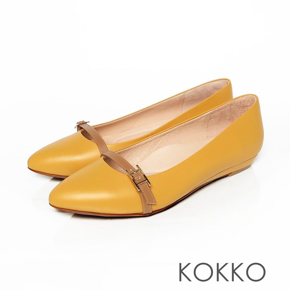 KOKKO -秀氣小飾帶楔型微增高-乳酪黃