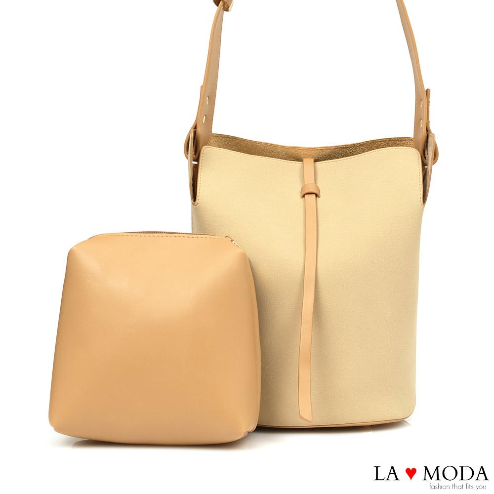 La Moda 極簡設計風異材質拼接肩背斜背子母包(米)