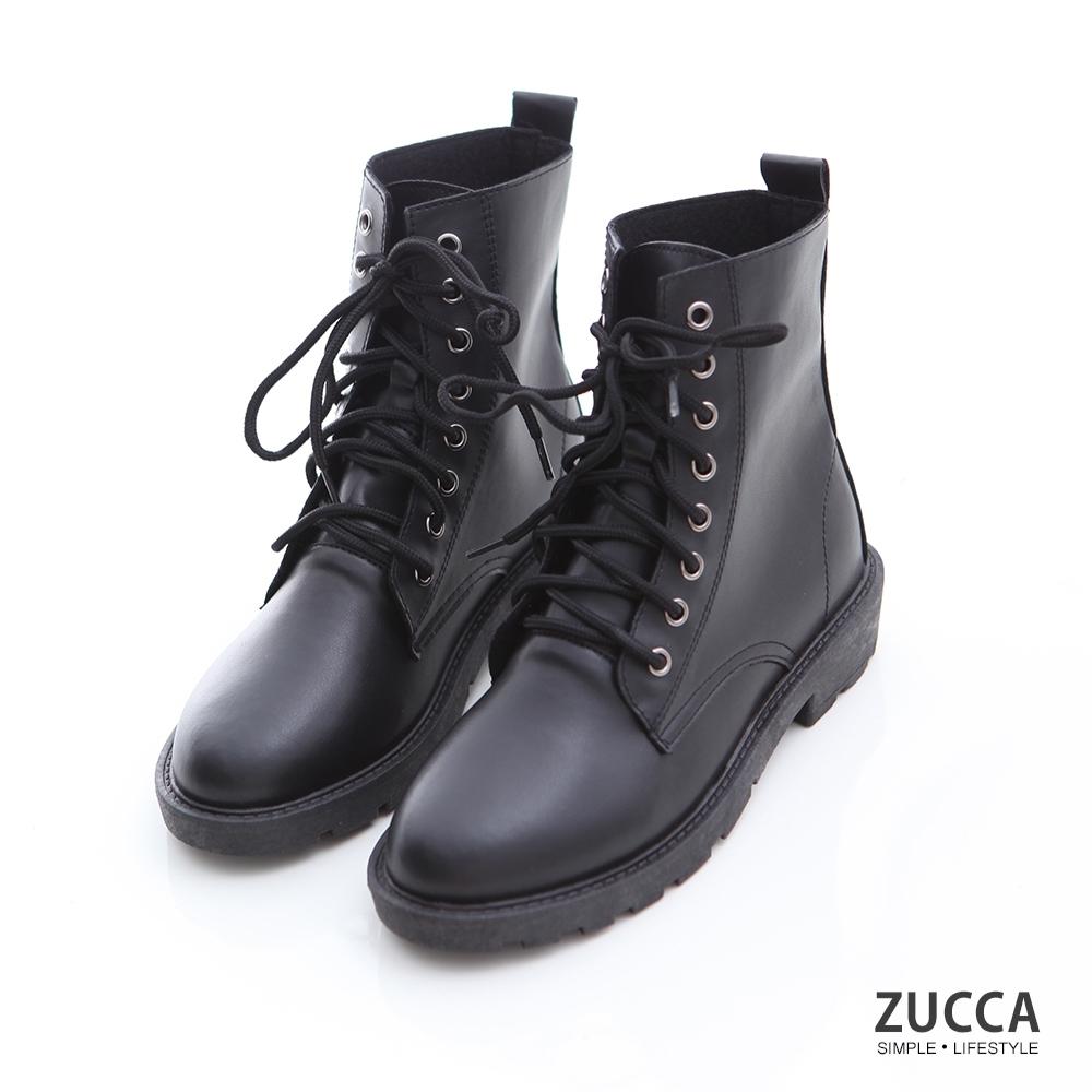 ZUCCA-純色皮革綁繩軍靴-黑-z6910bk
