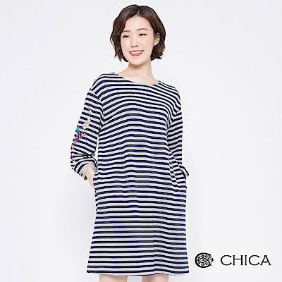 CHICA 秋日花藝刺繡泡泡袖條紋洋裝(2色)