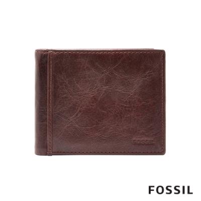 FOSSIL Ingram 真皮RFID男夾-咖啡色 ML3784200