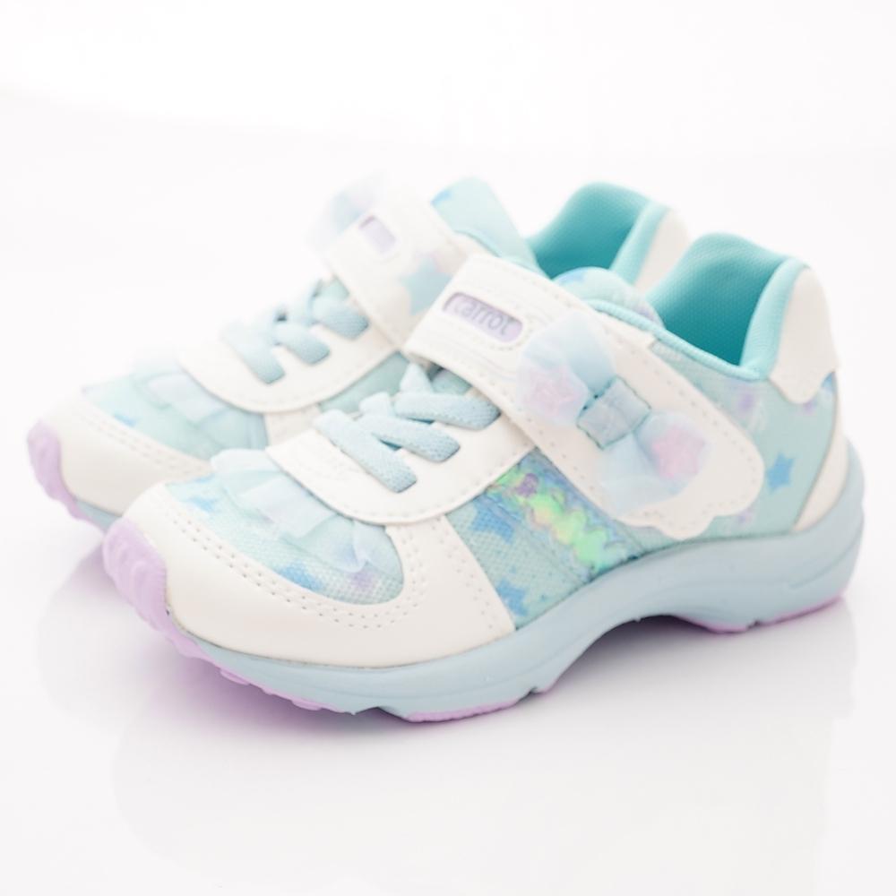 日本Carrot機能童鞋 2E蕾絲蝴蝶結運動鞋款 TW2519淺藍(中小童段)