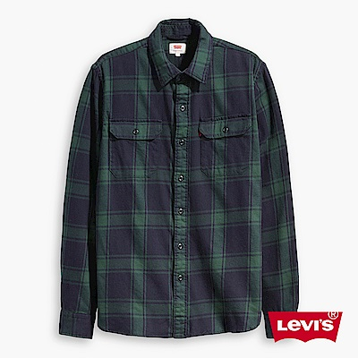Levis 男款 襯衫 墨綠格紋 胸前雙口袋
