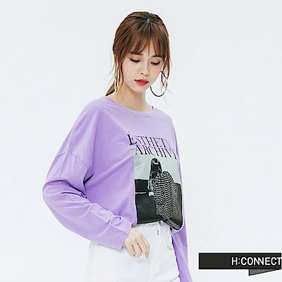 H:CONNECT 韓國品牌 女裝-黑白圖印長袖T-shirt-紫
