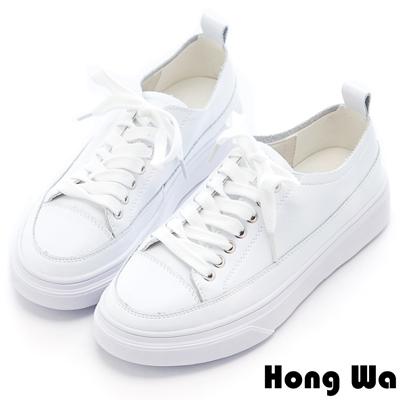 Hong Wa 休閒綁帶厚底牛皮小白鞋 - 白