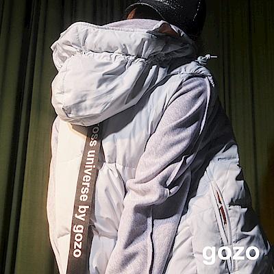 gozo 品牌織帶連帽羽絨背心外套(三色)