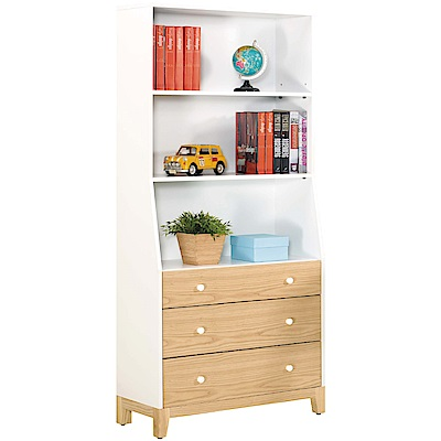 文創集 克蘿時尚2.7尺雙色三抽書櫃/收納櫃-81.5x38.5x180.5cm免組