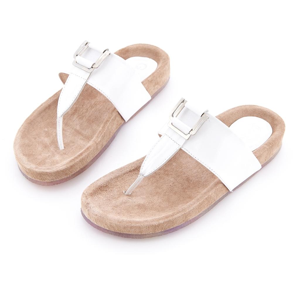 G.Ms. T字牛漆皮柏肯式夾腳平底涼拖鞋-白色