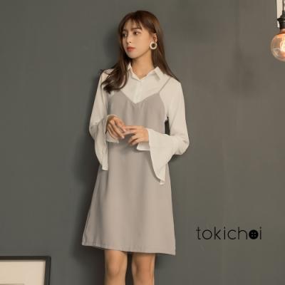 東京著衣 甜美百搭細肩帶襯衫拼接假兩件洋裝-S.M.L