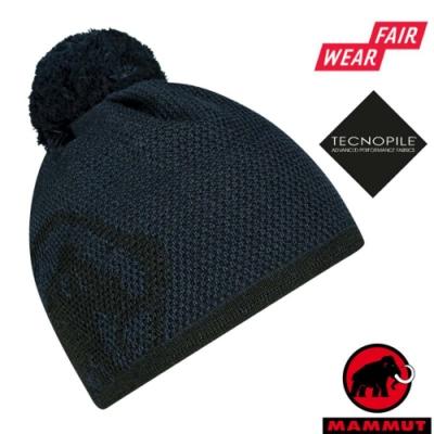 長毛象 Snow Beanie 超輕彈性雙層針織保暖羊毛帽/毛球帽_海洋藍/黑