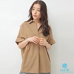 earth music 棉麻混紡襯衫領寬版上衣