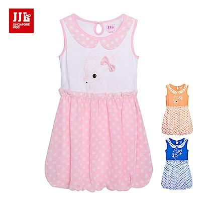 JJLKIDS 可愛小鹿點點拼接無袖洋裝(3色)