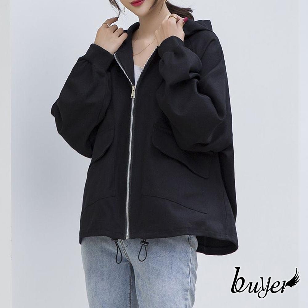 【白鵝buyer】率性 挺版連帽拉鍊外套(黑色)
